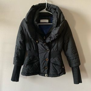 T Tahari black fitted moto puffer jacket
